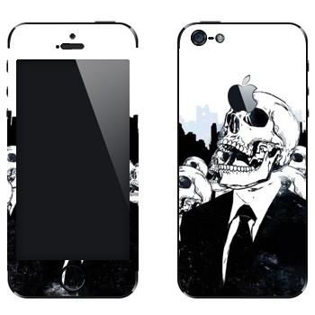Виниловая наклейка «Скелеты в костюмах» на телефон Apple iPhone 5