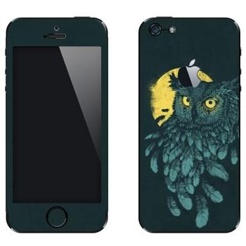 Виниловая наклейка «Сова и Луна» на телефон Apple iPhone 5