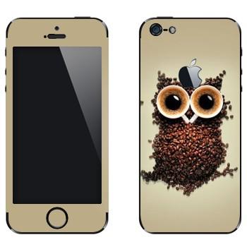 Виниловая наклейка «Сова из кофейных зерен и двух чашек» на телефон Apple iPhone 5