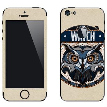 Виниловая наклейка «Сова наблюдает» на телефон Apple iPhone 5