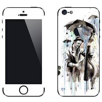 Виниловая наклейка «Уличный музыкант под дождем» на телефон Apple iPhone 5