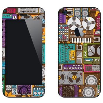 Виниловая наклейка «Усилители и бобинные магнитофоны» на телефон Apple iPhone 5