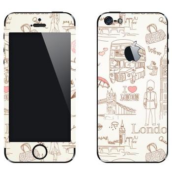 Виниловая наклейка «Узор Лондон» на телефон Apple iPhone 5