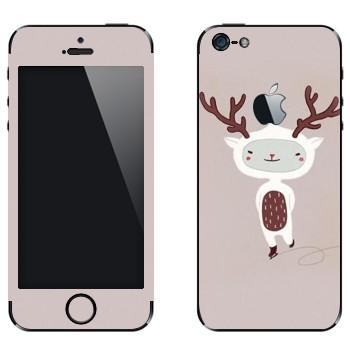Виниловая наклейка «Веселый олененок на коньках» на телефон Apple iPhone 5