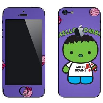 Виниловая наклейка «Зеленый зомби в майке» на телефон Apple iPhone 5