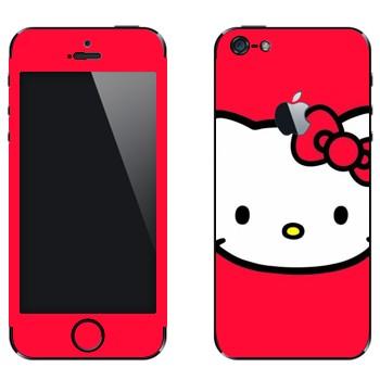 Виниловая наклейка «Hello Kitty на красном фоне» на телефон Apple iPhone 5
