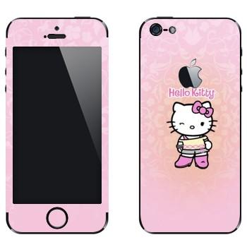 Виниловая наклейка «Hello Kitty подмигивает» на телефон Apple iPhone 5