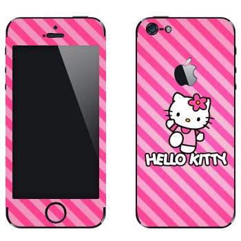 Виниловая наклейка «Hello Kitty розовые полоски» на телефон Apple iPhone 5
