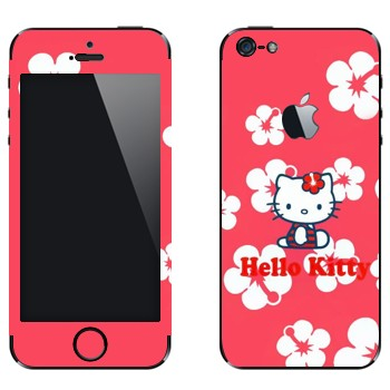 Виниловая наклейка «Hello Kitty в цветах» на телефон Apple iPhone 5