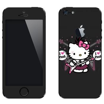 Виниловая наклейка «Kitty - I love punk» на телефон Apple iPhone 5