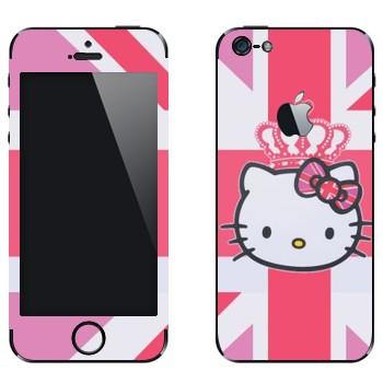 Виниловая наклейка «Kitty королева Британии» на телефон Apple iPhone 5