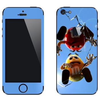 Виниловая наклейка «M&M's: красный и желтый» на телефон Apple iPhone 5