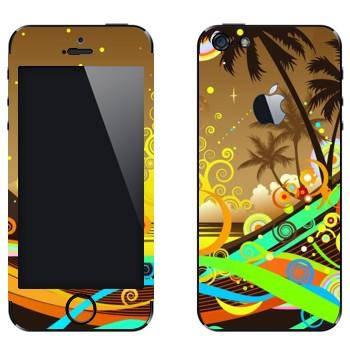 Виниловая наклейка «Абстрактный закат на пляже» на телефон Apple iPhone 5
