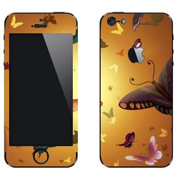 Виниловая наклейка «Бабочки на фоне солнца» на телефон Apple iPhone 5