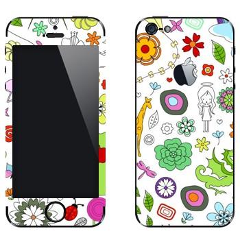Виниловая наклейка «Девчачьи узоры» на телефон Apple iPhone 5