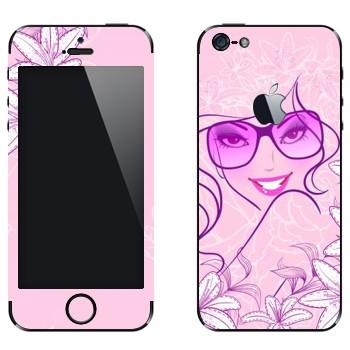 Виниловая наклейка «Гламурная девушка в очках» на телефон Apple iPhone 5