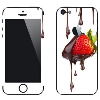 Виниловая наклейка «Клубника в шоколаде» на телефон Apple iPhone 5