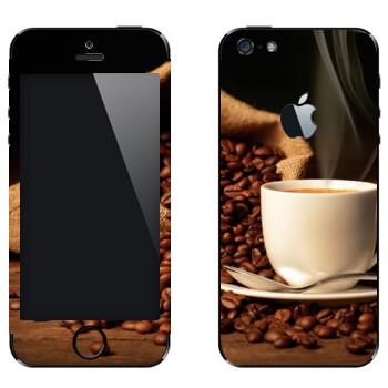 Виниловая наклейка «Кофе не молотый» на телефон Apple iPhone 5