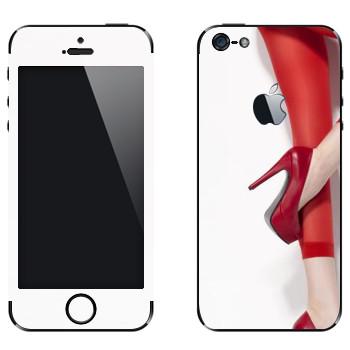 Виниловая наклейка «Красные туфли и колготки» на телефон Apple iPhone 5