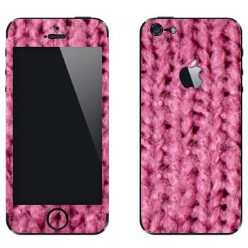 Виниловая наклейка «Крупная розовая вязка» на телефон Apple iPhone 5