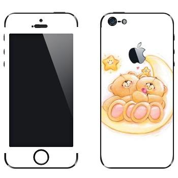 Виниловая наклейка «Медвежата Тедди на месяце» на телефон Apple iPhone 5