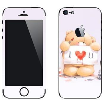 Виниловая наклейка «Медвежонок Тедди - I love You» на телефон Apple iPhone 5