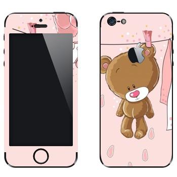 Виниловая наклейка «Мишка сушится» на телефон Apple iPhone 5