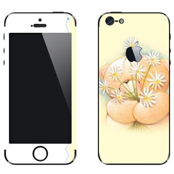 Виниловая наклейка «Мишка Тедди и ромашки» на телефон Apple iPhone 5