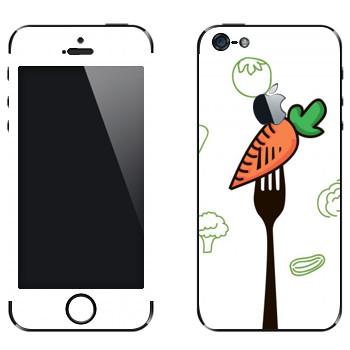 Виниловая наклейка «Морковка на вилке» на телефон Apple iPhone 5