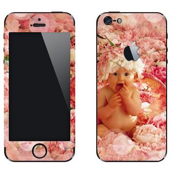 Виниловая наклейка «Ребенок в цветах» на телефон Apple iPhone 5