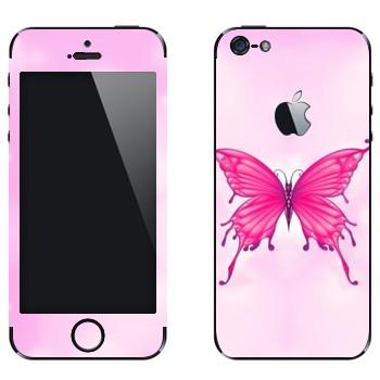 Виниловая наклейка «Розовая бабочка» на телефон Apple iPhone 5
