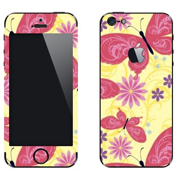 Виниловая наклейка «Розовые бабочки и цветы» на телефон Apple iPhone 5