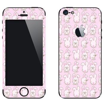 Виниловая наклейка «Розовые зайчики» на телефон Apple iPhone 5