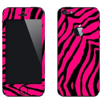 Виниловая наклейка «Шкура розовой зебры» на телефон Apple iPhone 5