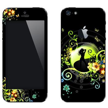 Виниловая наклейка «Силуэт девушки» на телефон Apple iPhone 5