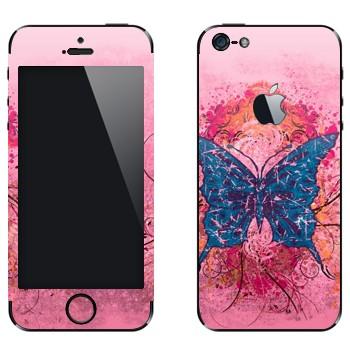 Виниловая наклейка «Синяя бабочка» на телефон Apple iPhone 5
