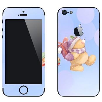 Виниловая наклейка «Тедди медвежонок несет подарки» на телефон Apple iPhone 5