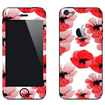 Виниловая наклейка «Цветы маки» на телефон Apple iPhone 5