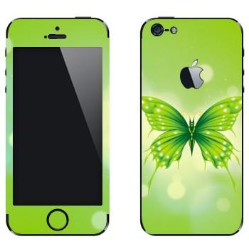 Виниловая наклейка «Зеленая бабочка» на телефон Apple iPhone 5
