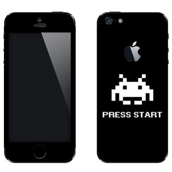 Виниловая наклейка «8бит - Press start» на телефон Apple iPhone 5