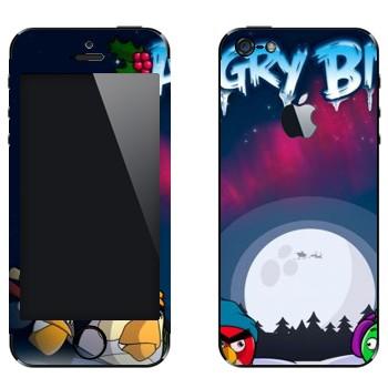 Виниловая наклейка «Angry Birds зимой» на телефон Apple iPhone 5