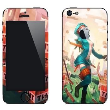 Виниловая наклейка «Creeper Девушка - Minecraft» на телефон Apple iPhone 5