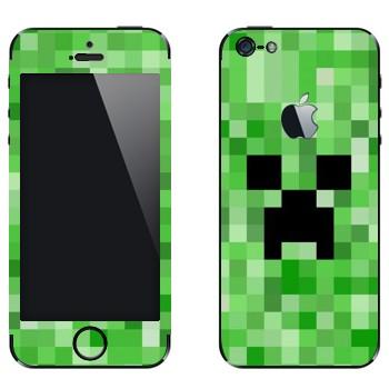 Виниловая наклейка «Creeper face - Minecraft» на телефон Apple iPhone 5