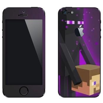 Виниловая наклейка «Enderman и голова - Minecraft» на телефон Apple iPhone 5