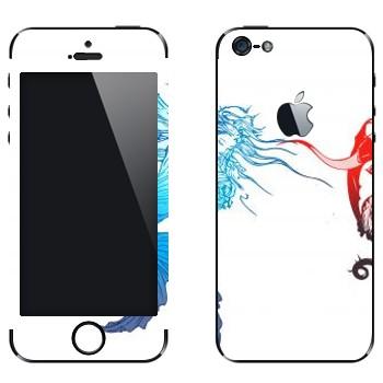 Виниловая наклейка «Final Fantasy 13 синее и красное» на телефон Apple iPhone 5