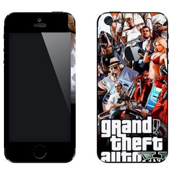 Виниловая наклейка «Grand Theft Auto 5 - Коллаж» на телефон Apple iPhone 5