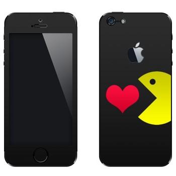Виниловая наклейка «I love Pacman» на телефон Apple iPhone 5