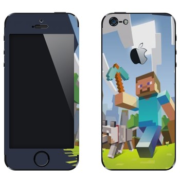 Виниловая наклейка «Minecraft Adventure» на телефон Apple iPhone 5