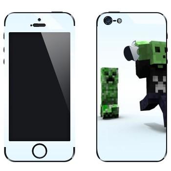 Виниловая наклейка «Minecraft крипер» на телефон Apple iPhone 5