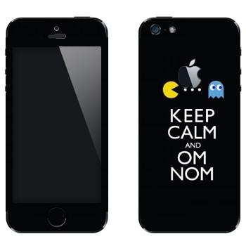 Виниловая наклейка «Pacman - om nom nom» на телефон Apple iPhone 5